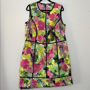 Calvin Klein multicolored floral yellow dress 18W